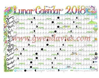 2018 Lunar Moon A2 Wall planner, hand drawn Pagan / wiccan Calendar