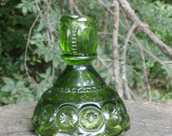 Vintage Moon and Stars Green Candle Holder Single Taper Glass Candlestick Holder