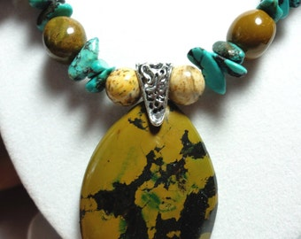 Turquoise Necklace All Natural Yellow Ochre Turquoise Pendant with Real Turquoise and Jasper  Necklace and Sterling Silver