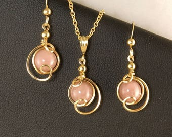 Pink Rhodonite Gemstone Gold Jewelry Gift Set, Small Pink and Gold Drop Pendant Chain Necklace and Earrings Gift Set, Pink Jewelry Gift Set