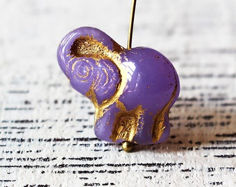 Czech Glass Beads -Glass Elephant Beads - Jewelry Making Supplies - Lavender With Gold Decor - Choose Amount