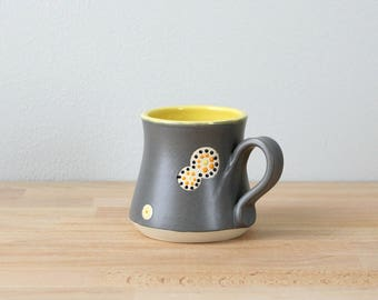 Stoneware Coffee Cup, Ceramic Coffee Mug, Teacup, Yellow Handmade Mug, Modern Drinkware, Pottery Mug, Colorful Coffee Cup by Nstarstudio
