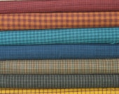 Eight Aqua, Red, Green, Gold & Brown Fabric Bundle of Yarn Dyes from Helping Hands Collection by Kim Diehl, 100% Cotton Quilt Fabric