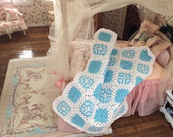 Miniature Afghan, Crochet White and Blue Afghan, Dollhouse Miniature, Hand Made Mini Afghan, Dollhouse Throw, Bedspread, Blanket