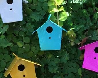 SALE Miniature Yellow Metal Birdhouse, Fairy Garden Accessory, Miniature Gardening, Home and Garden Decor, Topper, Crafting