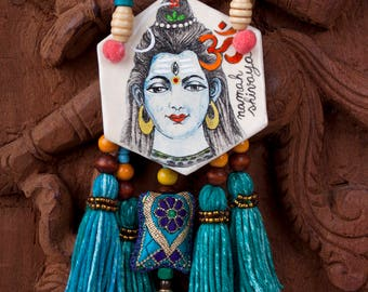 Shiva Necklace, Mantra, Hmong Kuchi Banjara, Spiritual Jewelry, Pom Pom, Tassels, Wearable Mantra, Mala, Handmade Pendant, Om Namah Shivaya