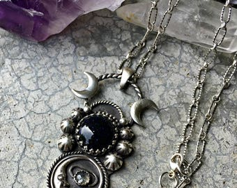 Ode to the Night - Blue Goldstone and Fiery Labradorite Sterling Silver Handcrafted Necklace- Pendant -Moonchild - Boho - Moon - Sandstone