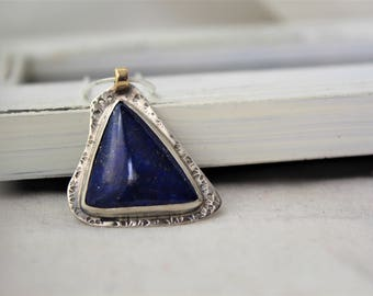 Royal Boho - Lapis Lazuli and sterling silver Pendant with 18k gold - READY TO SHIP