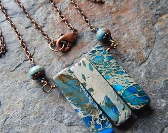 Blue imperial jasper necklace - blue stone slab necklace - bar necklace - boho blue - bohemian - rustic stone necklace - sea sediment jasper