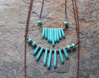 Turquoise graduated stone bar necklaces - rustic layering fan necklaces - antique copper - southwestern style - bohemian jewelry - boho