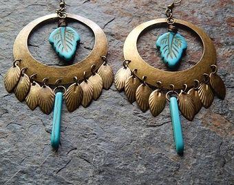 Turquoise blue statement earrings - chandelier earrings  - boho blue jewelry -Leaf earrings - Turquoise leaves - big Gypsy earrings