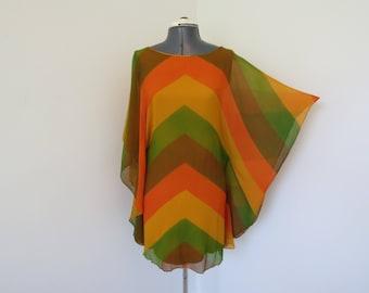 Vintage 1960s Batwing Mini Dress - Womens Bust 32 - Brown Yellow Orange Green Striped Sheer Dress