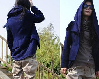 navy blue Woolen suit jacket