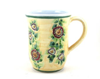 Stoneware Coffee Mug - Yellow Tea Cup with Flowers - Hand-Thrown, Bisque Fired and Ceramic Glazed