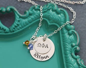 FREE SHIP • Sorority Jewelry Sorority Rush • Lil Sis Necklace Big Sis Necklace • Alpha Chi Omega Letters Delta Phi •Big Sorority Sigma Kappa