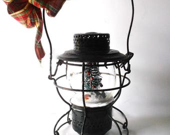 Rustic Farmhouse Christmas Snow Globe. Antique Handlan RailRoad Train Lantern. St. Louis USA. Black Metal caged Lantern. Syracuse NY Globe
