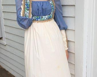 Ren Faire Dress Festival Maxi Ivory Renaissance Long Sleeve Vintage Prairie 70s XS S