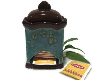 Tea Bag Dispenser and Storage - Blue and brown