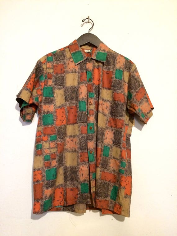 Tile Print Button Up