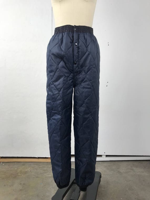 Navy Blue Quilted Lining Pants