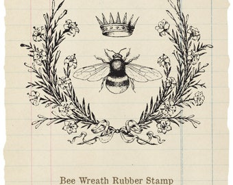 Bee Wreath Unmounted rubber stamp