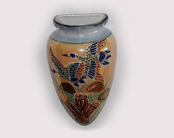 "Vintage Japan Wall Pocket Vase Satsuma Bird Moriage Porcelain Lusterware 7"" Tall"