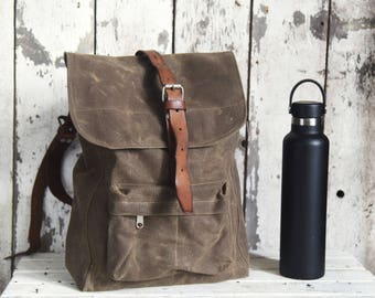 Waxed Canvas Backpack Little Rogue in Truffle, Rucksack, Gift for Man, Bicycle Bag, Wax Canvas Travel Bag, WWII Leather Straps, Monogram