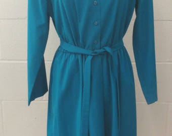 Vintage 80's Henry Lee Teal Button Up Long Sleeve Secretary Dress w/ Belt Med