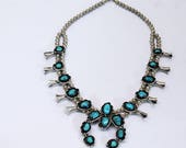 """Old Pawn Navajo Bisbee Turquoise Squash Blossom Necklace - 3"""" Naja - 180G"""