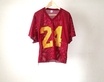vintage 80s USC maroon and golden yellow COLLEGE mesh short sleeve jersey football shirt