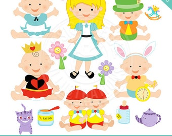 Alice in Babyland Cute Digital Clipart for Card Design, Scrapbooking, and Web Design