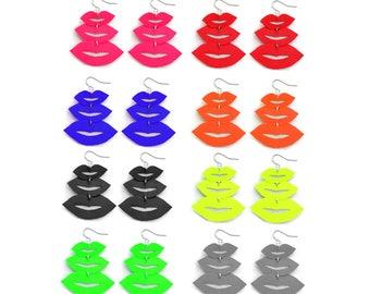 Pink Lips Earrings Lips Jewelry Leather Earrings Red Lips Earrings, Black Lips Statement Earrings Lips Print, Tassel Earrings Kisses Earring