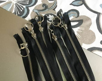 """Five 14.5"""" Long Heavy Duty Black and Silver Metal Separating Zippers for Jacket Tote Purse Bag Hoodie HM"""