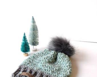SNOW BUNNY Beanie In Light Gray and Aqua with Faux Fur Pom Pom, Wool, MMIM, Handmade, Crochet, Winter Hat, Kids, Baby, Small