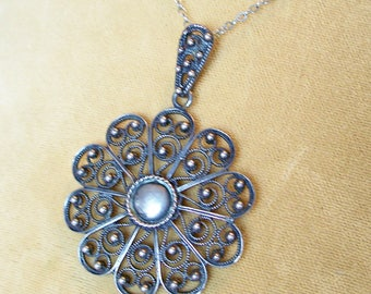 Vintage Norway Solje Pendant Sterling Silver Filigree Finn Jensen Necklace 925SV Flower Shape Cannetille
