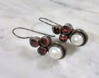 Vintage Garnet Pearl Sterling Silver Earrings Darkened Silver Heavily Oxidized Enhances Color and Design Three Hand Cut Garnets Large Pearl