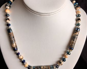 Lampwork Bead Necklace: Metallic Blue, Ivory and Silver