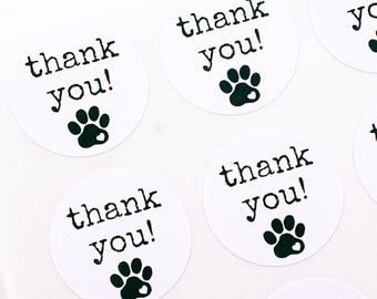 THANK YOU labels with animal paw print and heart - typewriter font labels - thank you stickers pet accessories and animal lovers
