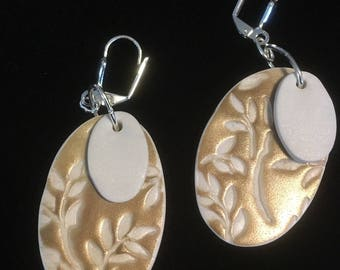 Stamped Ecru/Golden Earrings . Double Ovals . Lever Back . Polymer Clay