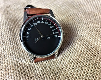Speedometer watch, engraved watch,  Leather watch band, car watch, montre homme, armbanduhr, watches for men, watches for women