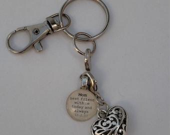 Custom Key Chain with Custom Glass Gem and Silver-tone Charm by Kristin Victoria Designs