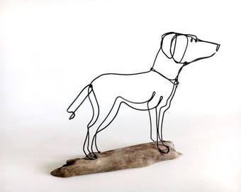 Dog Wire Sculpture, Lab Dog Wire Art, Folk Wire Art, Dog Sculpture, 537245836