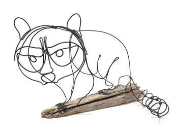 Raccoon Wire Sculpture, Minimal Sculpture, Woodland Animal, Wire Art, 576157463