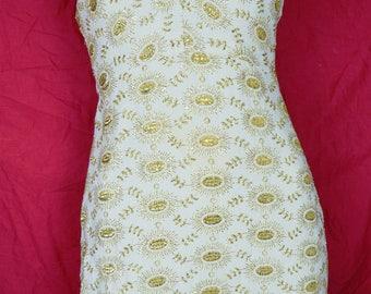 BOMBSHELL Brocade Sheath Dress w X Halter Bodice 50s 60s