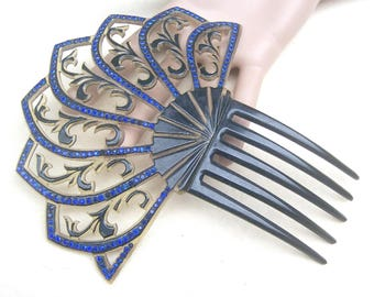 Art Deco celluloid hair comb blue rhinestone Spanish style hair accessory headpiece headdress hair ornament decorative comb