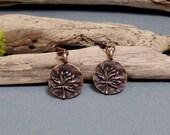 Small Copper Lotus Earrings - Lotus Flower Earrings - Dainty Copper Earrings - Lotus Charm Earrings