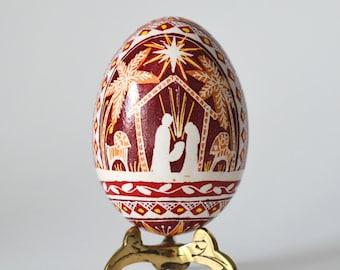 Nativity set Christmas Pysanka Ukrainian Easter egg hand decorated chicken egg shell in batik wax-resist method Christian gifts