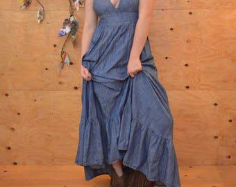 Vintage 90's Maxi Dress Light Cotton Denim Empire Waist With Halter Top That Ties In Back SZ M