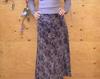 Vintage 70's Velvet A-line Midi Skirt Paisley Floral Pattern SZ S