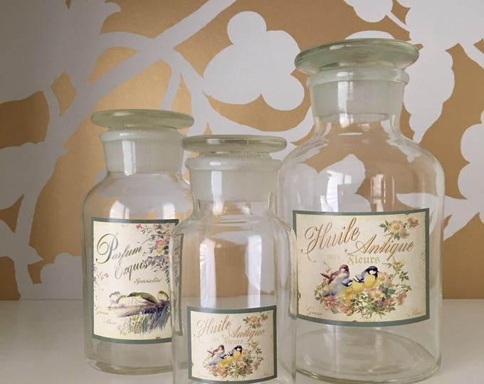 Vintage Apothecary Jars Ground Glass Stoppers French Labels